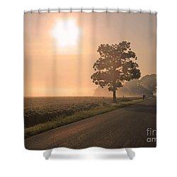 Foggy Sunrise On Soybean Field Shower Curtain