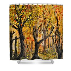 Shower Curtain featuring the painting Foliage by Evelina Popilian