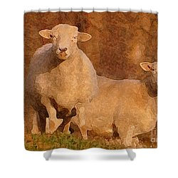Shower Curtain featuring the mixed media Follow by Lydia Holly