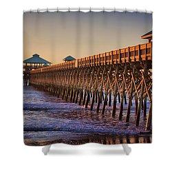 Folly Beach Pier Shower Curtain