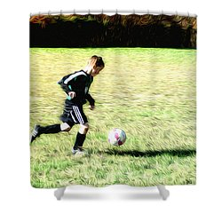 Footballer Shower Curtain by Bill Cannon