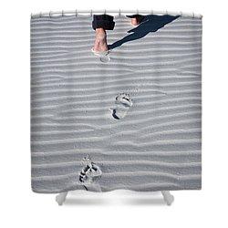 Footprint On White Sand Shower Curtain