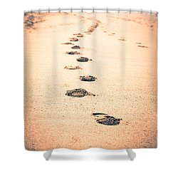 Footprints In Sand Shower Curtain by Paul Velgos