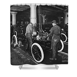 Ford Assembly Line Shower Curtain by Omikron