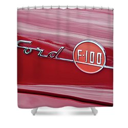 Ford F-100 Nameplate Shower Curtain by Guy Whiteley