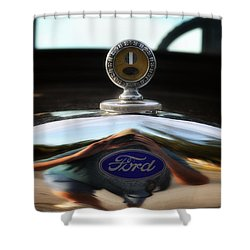 Ford Model T Hood Ornament Shower Curtain by Bill Cannon