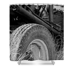 Shower Curtain featuring the photograph Ford Tractor Details In Black And White by Jennifer Ancker