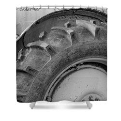 Shower Curtain featuring the photograph Ford Tractor In Black And White by Jennifer Ancker