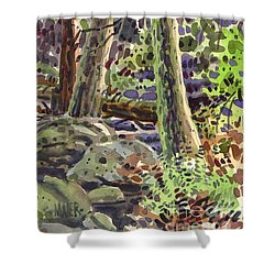Shower Curtain featuring the painting Forest Green by Donald Maier