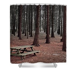 Forest Table Shower Curtain by Carlos Caetano