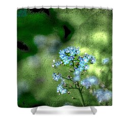 Forget-me-not Grunge Shower Curtain by Darren Fisher