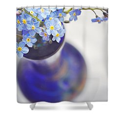 Forget Me Nots In Deep Blue Vase Shower Curtain by Lyn Randle