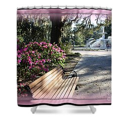 Forsyth Park In Spring Pink Shower Curtain by Carol Groenen