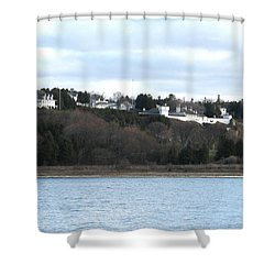 Fort Mackinac And The Governor's Summer Residence Shower Curtain by Keith Stokes