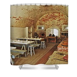 Fort Macon Mess Hall_9078_3765 Shower Curtain by Michael Peychich