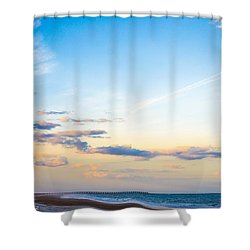 Shower Curtain featuring the photograph Forte Clinch Pier by Shannon Harrington
