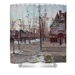 Four Corners At Bidwell Parkway Shower Curtain by Ylli Haruni