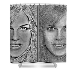 Four Interpretations Of Hilary Swank Shower Curtain by J McCombie