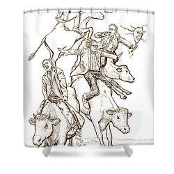 Shower Curtain featuring the digital art Four Mad Cowboys Of The Apocalypse by Russell Kightley