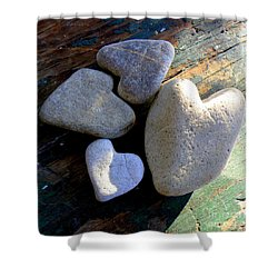 Four Stone Hearts Shower Curtain