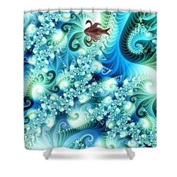 Shower Curtain featuring the digital art Fractal And Swan by Odon Czintos