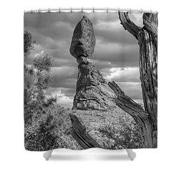 Framed Balance Rock Bw Shower Curtain