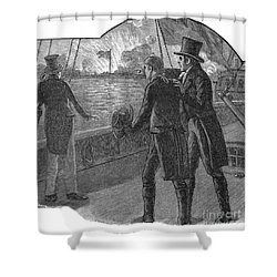 Francis Scott Key (1779-1843). American Lawyer And Poet. Witnessing The Bombardment Of Fort Mchenry, September 13-14, 1814: Wood Engraving, American, 1885 Shower Curtain by Granger