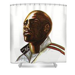 Franckie Fredericks Shower Curtain by Emmanuel Baliyanga
