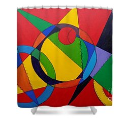 Shower Curtain featuring the painting Frankenball by Julie Brugh Riffey