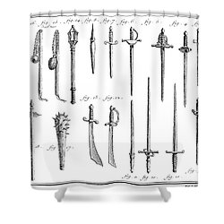 French Chivalric Weapons Shower Curtain by Granger