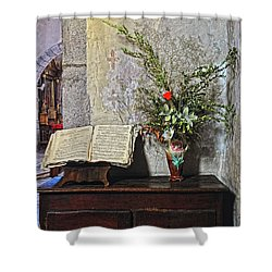 Shower Curtain featuring the photograph French Church Decorations by Dave Mills