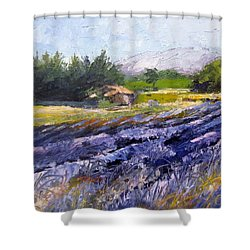 French Lavender  Provence Palette Knife Painting Shower Curtain