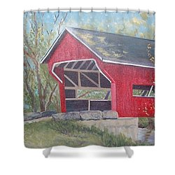 French Lick Covered Bridge Shower Curtain by Julie Cranfill