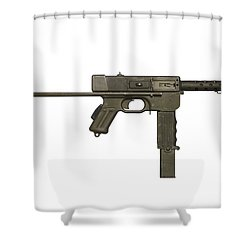 French Mat-49 Submachine Gun Shower Curtain by Andrew Chittock
