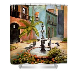 French Quarter Fountain Shower Curtain