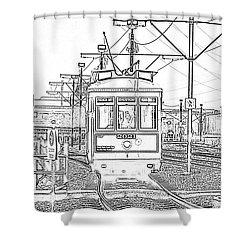 French Quarter French Market Cable Car New Orleans With Photocopy Shower Curtain by Shawn O'Brien