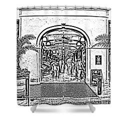 French Quarter French Market Entrance New Orleans Photocopy Digital Art Shower Curtain by Shawn O'Brien