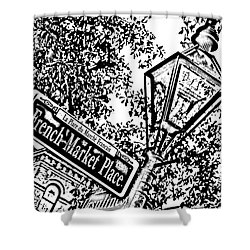 French Quarter French Market Street Sign New Orleans Photocopy Digital Art Shower Curtain by Shawn O'Brien