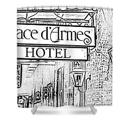 French Quarter Place Darmes Hotel Sign And Gas Lamps New Orleans Photocopy Digital Art Shower Curtain by Shawn O'Brien