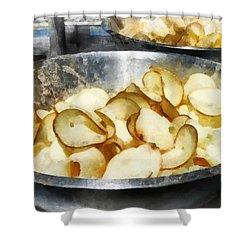 Fresh Potato Chips Shower Curtain by Susan Savad
