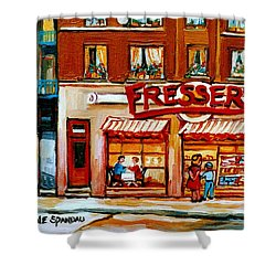 Fressers Deli Decarie Boulevard Montreal City Scenes Shower Curtain by Carole Spandau
