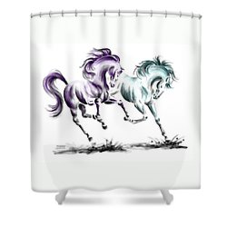 Shower Curtain featuring the drawing Frolicking - Wild Horses Print Color Tinted by Kelli Swan