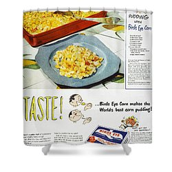 Frozen Food Ad, 1947 Shower Curtain by Granger