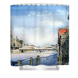 Frozen Shadows On The Grand Shower Curtain by Hanne Lore Koehler