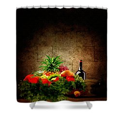 Fruit And Wine Shower Curtain by Lourry Legarde