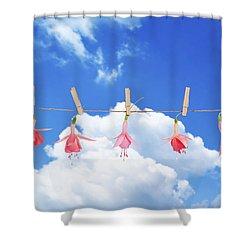 Fuchsia Blooms Shower Curtain by Amanda Elwell