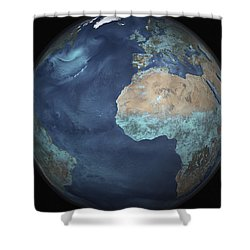 Full Earth Showing Evaporation Shower Curtain by Stocktrek Images