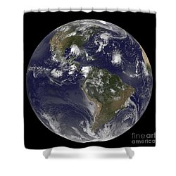 Full Earth Showing Tropical Storms Shower Curtain by Stocktrek Images