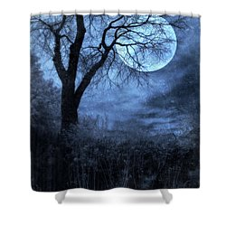 Full Moon Through Bare Trees Branches Shower Curtain by Jill Battaglia