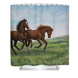 Galloping Horses Shower Curtain